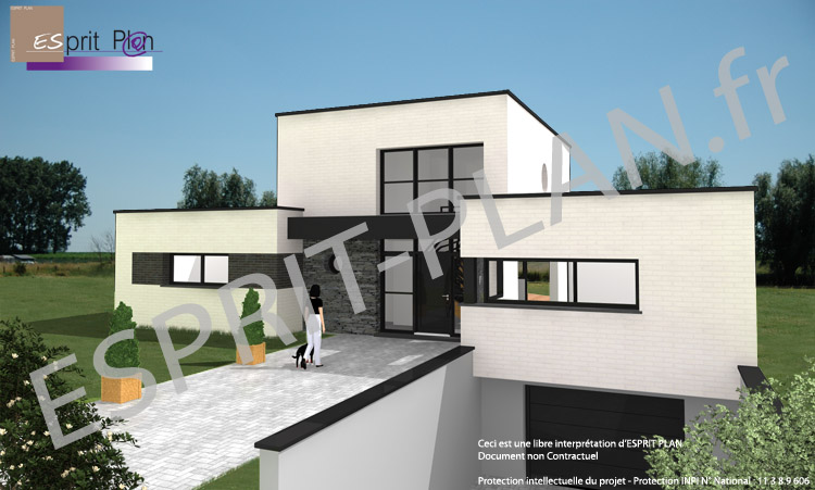 Avant projet maison extensions renovations sur arras for Maison rectangle contemporaine